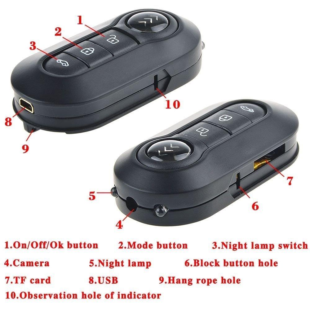 Mengshen 1920 * 1080P Cuerpo de Metal Full HD Mini Coche Llave espía ocultada cámara de detección de Movimiento w/Night Vision Key DVR videocámara MS-CC01: ...