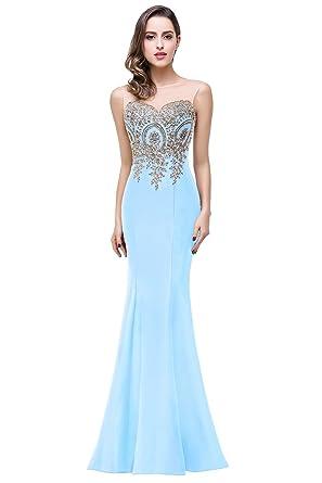 dccbf12b36f Babyonlinedress Sexy Elegant Robe de soirée Bal Cérémonie Forme Fourreau  Longue au Sol sans
