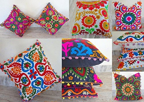 Handicraftofpinkcity 10 Piece Lot Mandala Style Otman Pouf Cushion Cover Hand Embroidered Suzani Pillow Vintage Cotton Cushion Cover Indian Handmade Squire Pillow Case