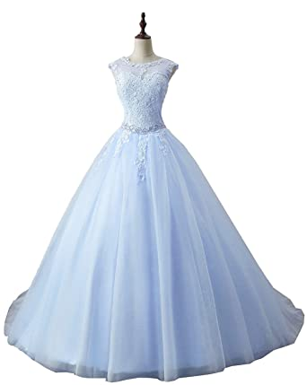Okaybrial Womens Lace Appliques Ball Gown Long Evening Prom Dress Beading Sequined Quinceanera Dresses