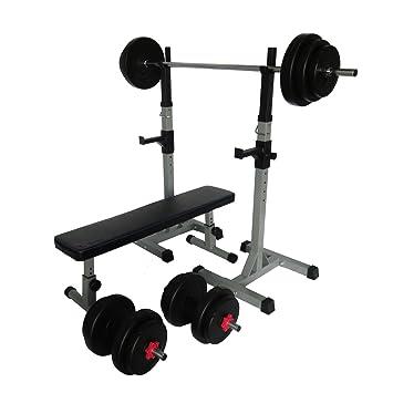 Uni Best plano Banco Banco de pesas con pesas para halteras de pares - con largo de y mancuernas, 70 kg: Amazon.es: Deportes y aire libre