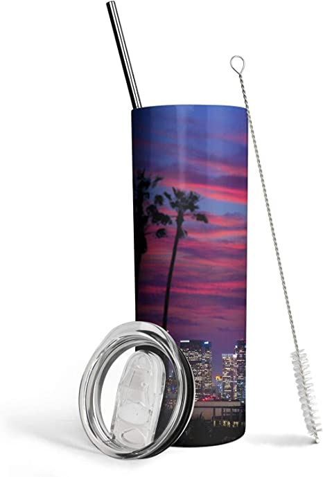 20oz Skinny Tumbler Palm Tree Diamond Pastel