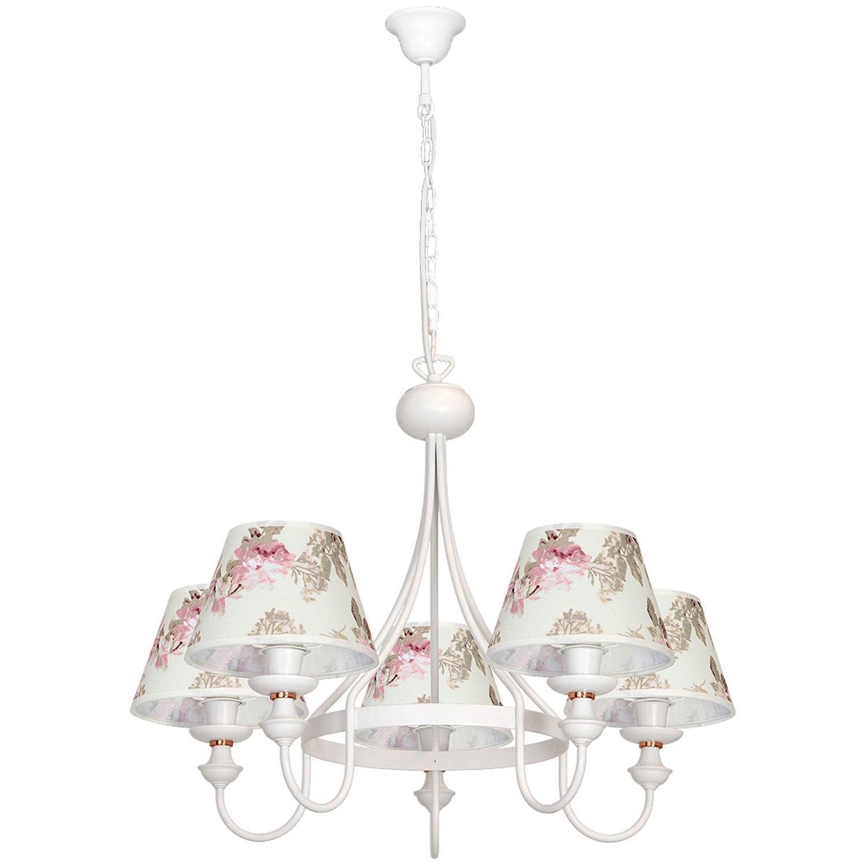 Weißer Kronleuchter Landhaus gemustert Stoff Metall Esstisch wohnlich 5-flmg Wohnzimmer Leuchte Lüster Lampe