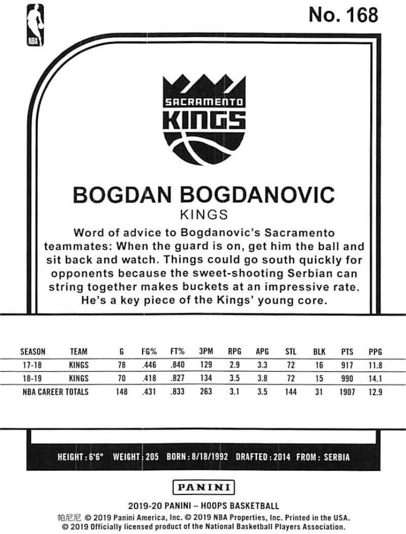2019-20 Panini Hoops Winter Basketball #168 Bogdan Bogdanovic Sacramento Kings Official Christmas//Holiday Parallel Trading Card