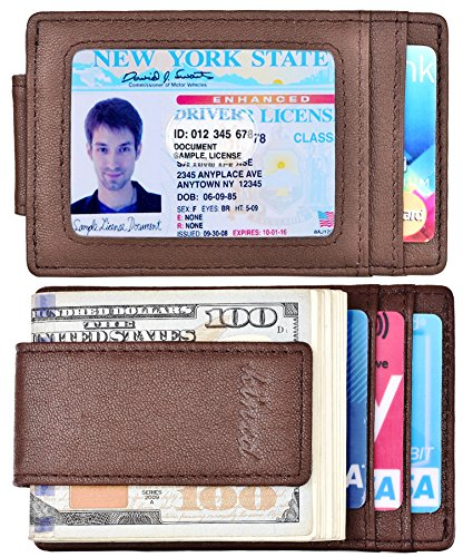 Money Clip, Front Pocket Wallet, Leather RFID Blocking Strong Magnet thin Wallet