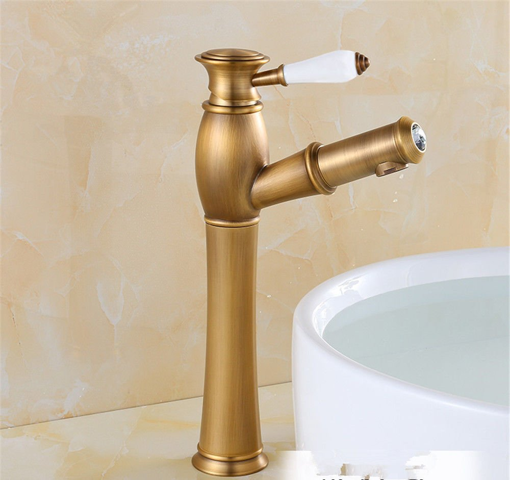 Antique Plus Highc S.Twl.E Sink Mixer Tap Faucet Bathroom Kitchen Basin Tap Leakproof Save Water Antique Pull Basin Scale Copper Hot And Cold Faucet Antique Plus High bluee Tiled F