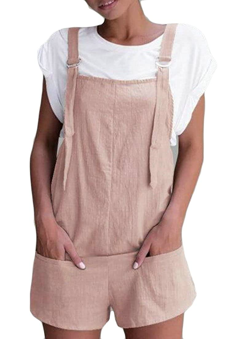 Pivaconis Women Slim Fit High Waisted Shorts Vogue Summer Romper Solid Overalls