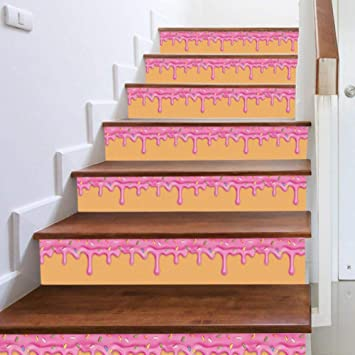 13Pcs / Set adhesivos para escaleras, papel autoadhesivo para pastel rosa 3D, adhesivos para escaleras de vinilo, decoraciones para el hogar (39.4x7.1Inch): Amazon.es: Bricolaje y herramientas
