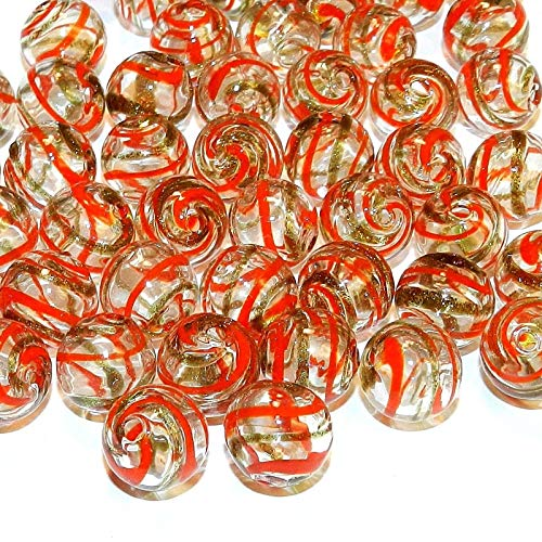 Round Blown Lampwork Glass Beads 10pc Clear w Red & Gold Swirls 12mm AG01 ()