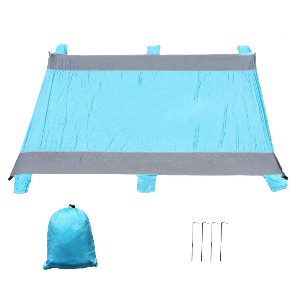 Beach Blanket - Sand Proof Compact Lightweight Portable Large Waterproof Parachute Nylon Beach Mat, Oversized 10'x9', Includes 4 Aluminium stakes