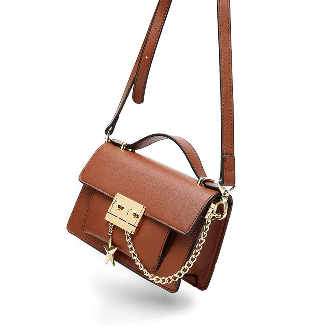 Brown AIYAMAYA Simple Retro Lock Star Decorative Square PU Shoulder Bag Messenger Bag