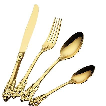 Cubertería vintage, tenedor, cuchillo, cuchara, chapado en oro, dorada, cubiertos, 4 piezas grabadas: Amazon.es: Hogar