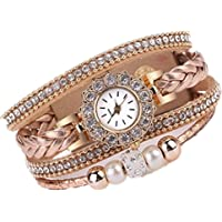 DYLUNG Ladies Watches,Clearance Sale Fashion Vintage Bracelet Weave Wrap Quartz Wrist Watch Dress Watches Gifts for Girls Women