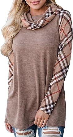 Womens Cowl Neck Sweatshirt Pullover Shirts Long Sleeve Plaid Raglan Tunic Tops