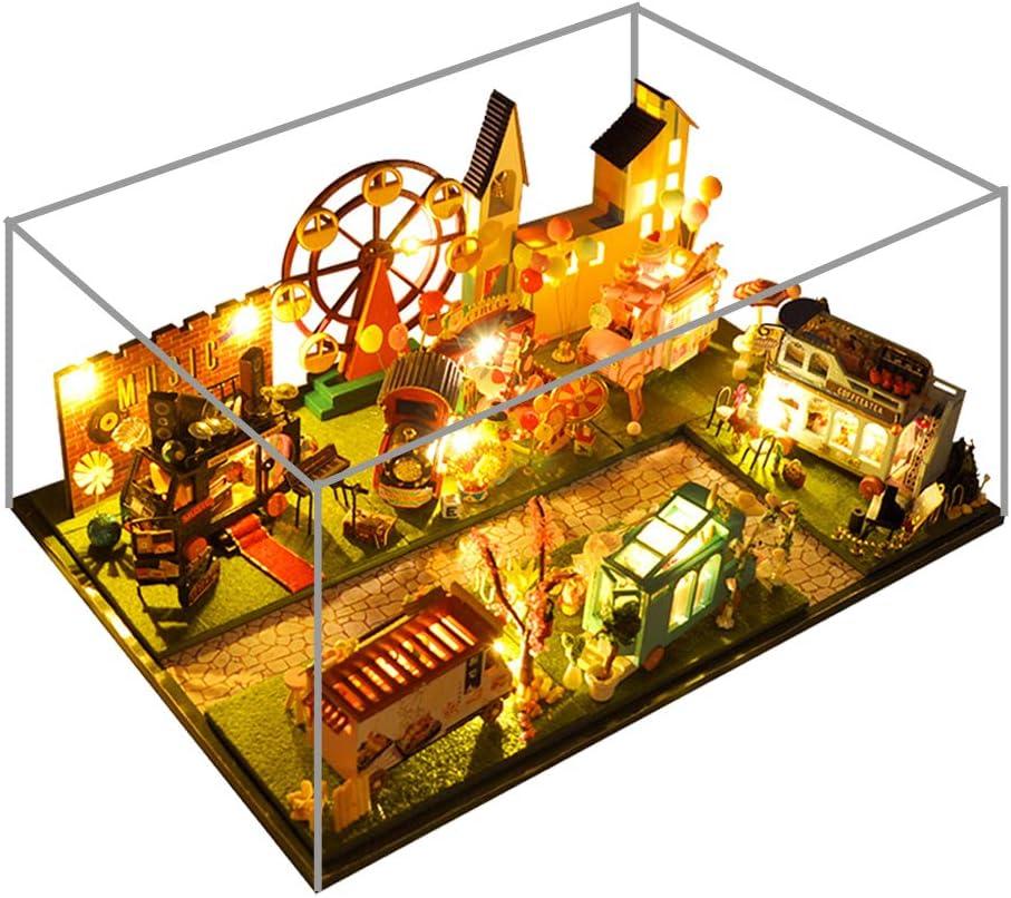WYD 6pcs DIY Mini Car Train Shop House Combined Bus Shop Street Model 3D Wooden Miniature Dollhouse Kit with LED Lights and Furniture Kits (6PCS Car)