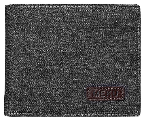 MEKU Men's RFID Blocking Slim Bifold Canvas and Leather Wallet with Coin Pocket 2 Bill Sections Black by MEKU