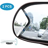 Kitbest Blind Spot Mirror, HD Glass Convex Rear View Mirror Adjustable Frameless Wide Angle Car Side Mirror for All Cars, SUV, Track and UTV (Pack of 2)