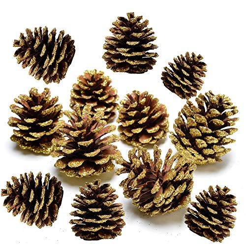 Byher Pinecones for Crafts, Glitter Pine Cones Ornaments for Decoration, Pack of 12 ()