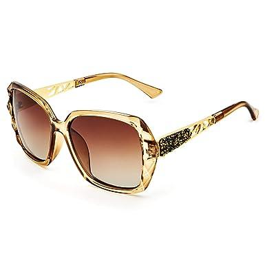 e93818f6ffd1ef LECKIRUT Lunettes de Soleil Pour Femmes Polarisées Surdimensionnées  Classiques 100% UV Protection cadre café