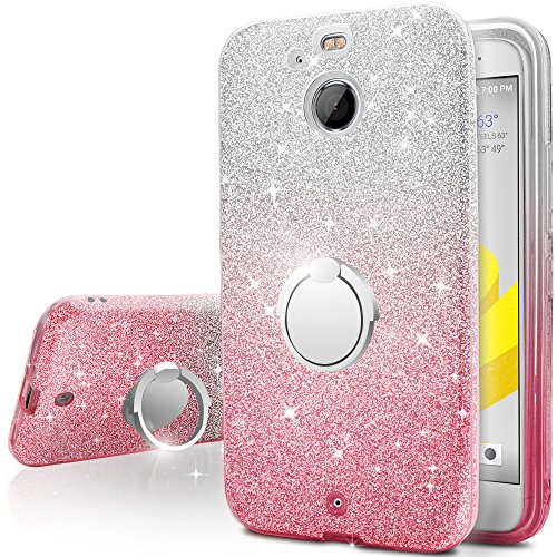 HTC Bolt Case,Silverback Girls Bling Glitter Sparkle Cute Phone Case With 360 Rotating Ring Stand, Soft TPU Outer Cover + Hard PC Inner Shell Skin for HTC Bolt / HTC 10 EVO -Pink