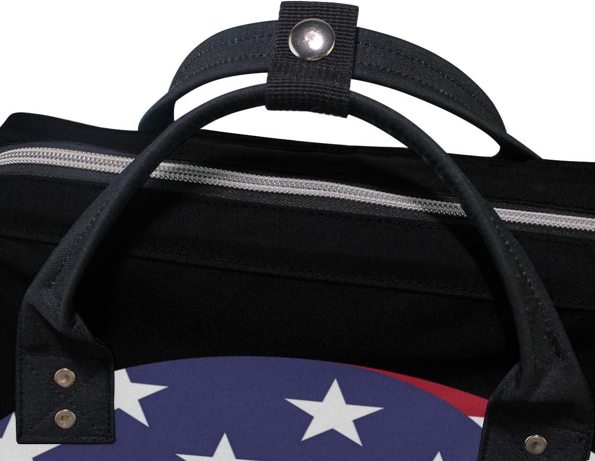 FANTAZIO Mummy Bag Backpack American Flag Yin Yang School Bag
