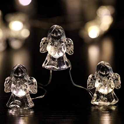 Yrdz Decorative String Lights Battery Operated Angel Novelty String Lights Indoor Outdoor Led Fairy Lights With Remote For Beach Party Garden Patio