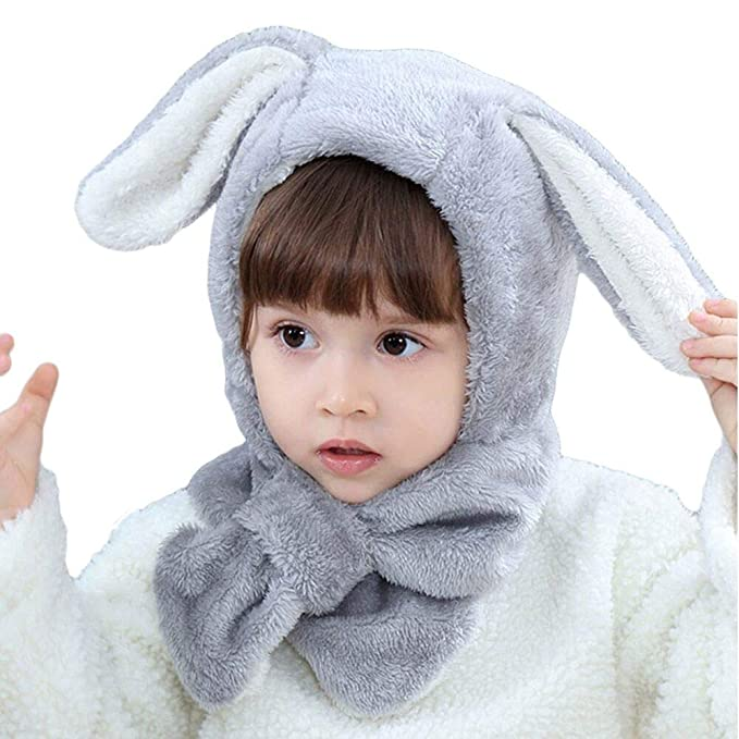 ITODA Bonnet 2 en 1 Chapeau-Echarpe Bonnet d hiver Chaud Epais Protection  Tête Oreille Coupe-Vent Motif d oreilles de Lapin Mignon Tour de Cou Douce  pour ... 83207f32471