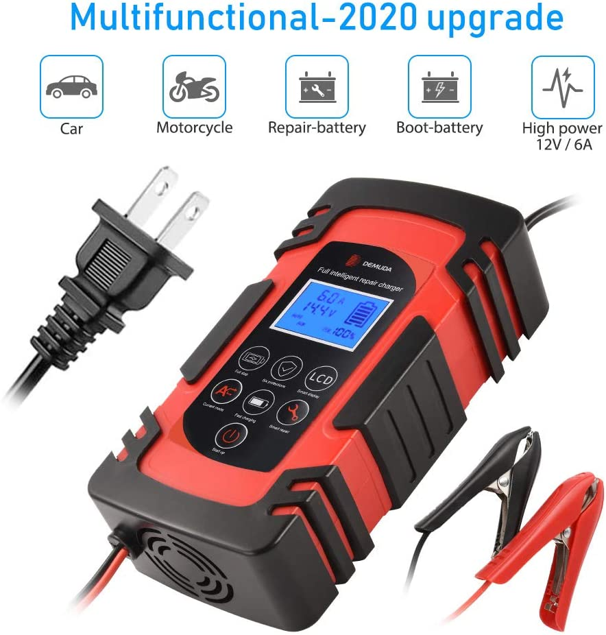Motorcycle Lawn Mower and More Smart Car Battery Charger 12V//8A 24V//4A Compatible Automotive Smart Portable Battery Charger Maintainer//Pulse Repair Charger Pack for Car