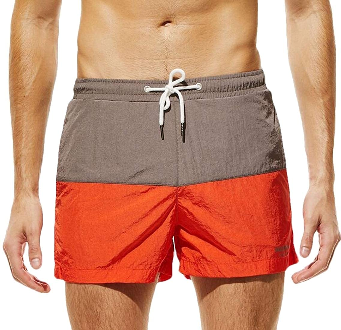 MU2M Men Swim Trunk Contrast Lightweight Quick Dry Beach Swim Trunk Boardshorts