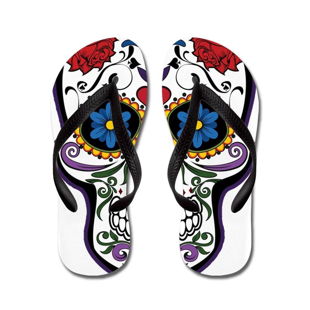 Truly Teague Kids Floral Sugar Skull Day of the Dead Rubber Flip Flops Sandals KDFLFLPFLSRSKLDOD-MAR2017