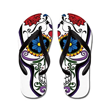 54d6eb420213ec Truly Teague Kid s Floral Sugar Skull Day of the Dead Black Rubber Flip  Flops Sandals 9