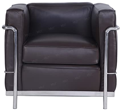 Delicieux MLF Le Corbusier Style Sofa Armchair, Dark Brown Aniline Leather