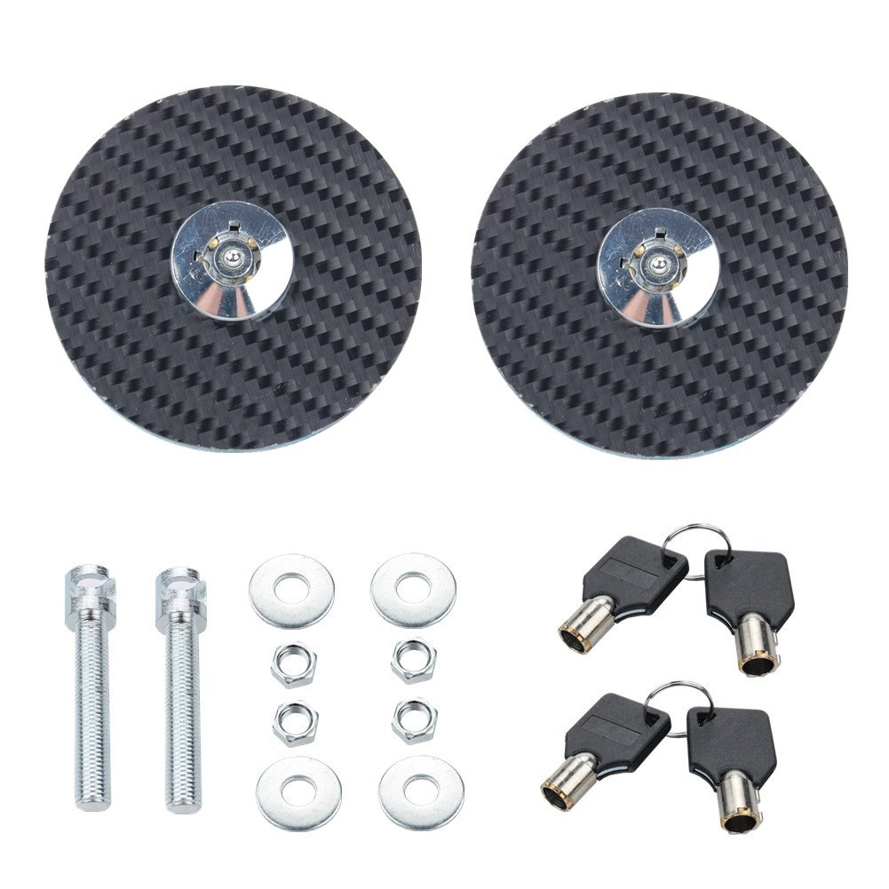 Dewhel Universal Round JDM Mount Bonnet Hood Lock Pins Kit w/Key For Honda Toyota Mitsubishi Sicon Acura Lexus Nissan Isuzu Subaru Mazda Hyundai Kia Infiniti etc (Black)