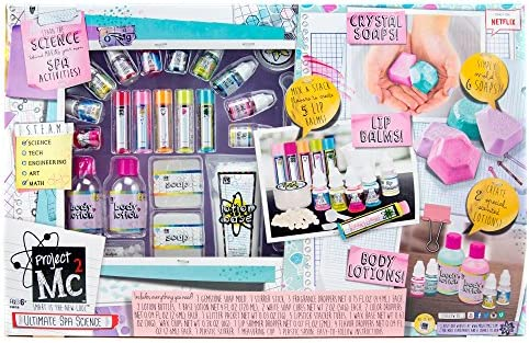 Project Mc2 Ultimate Spa Studio Stem Science Cosmetic Kit by Horizon Group USA, Make Your Own Crystal Soaps,5 DIY Lip Balms Fragrant Body Lotions, Choose Between 6 Scents More, Multicolored
