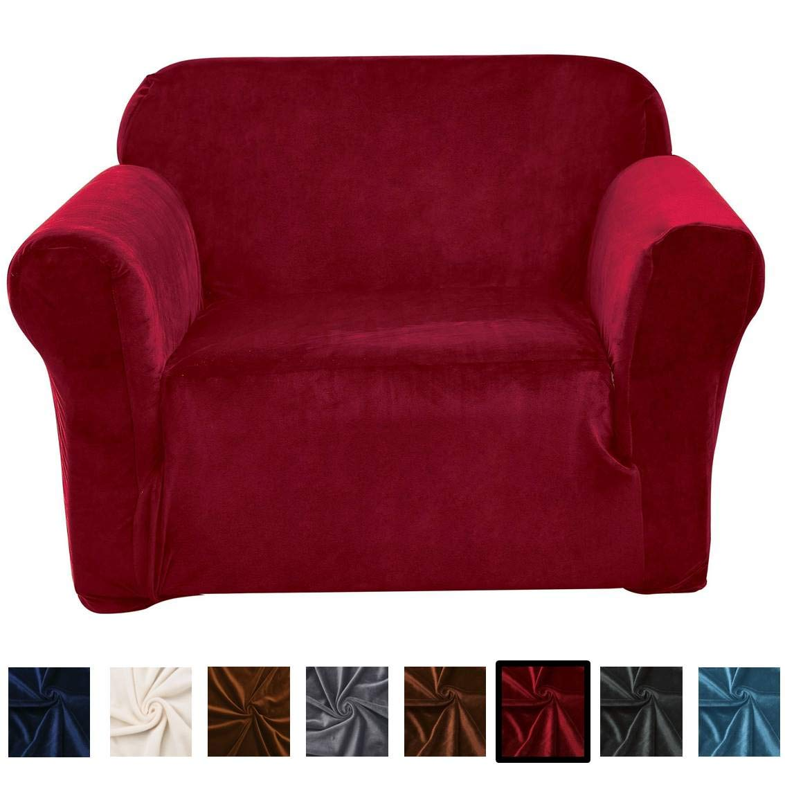 Argstar Velvet Stylish Recliner Covers Wine Red Washable Furniture Covers for Recliners