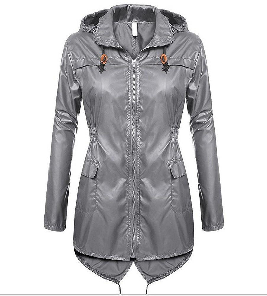 MOSZA Women Lightweight Long Trench Raincoat Hooded Waterproof Rain Jacket