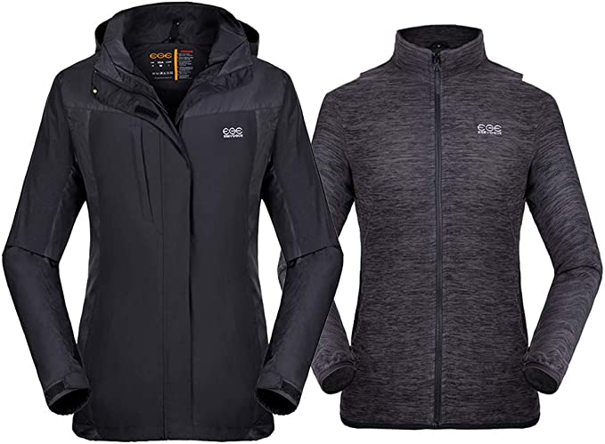 Venustas [2019 New] Women's 3-in-1 Heated Jacket with Battery Pack, Ski Jacket Winter Jacket with Removable Hood Waterproof