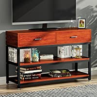 TV Stand, LITTLE TREE Entertainment Center with Two Drawers, Solid Storage Stand with Metal Legs, for Small Apartment, Cherry