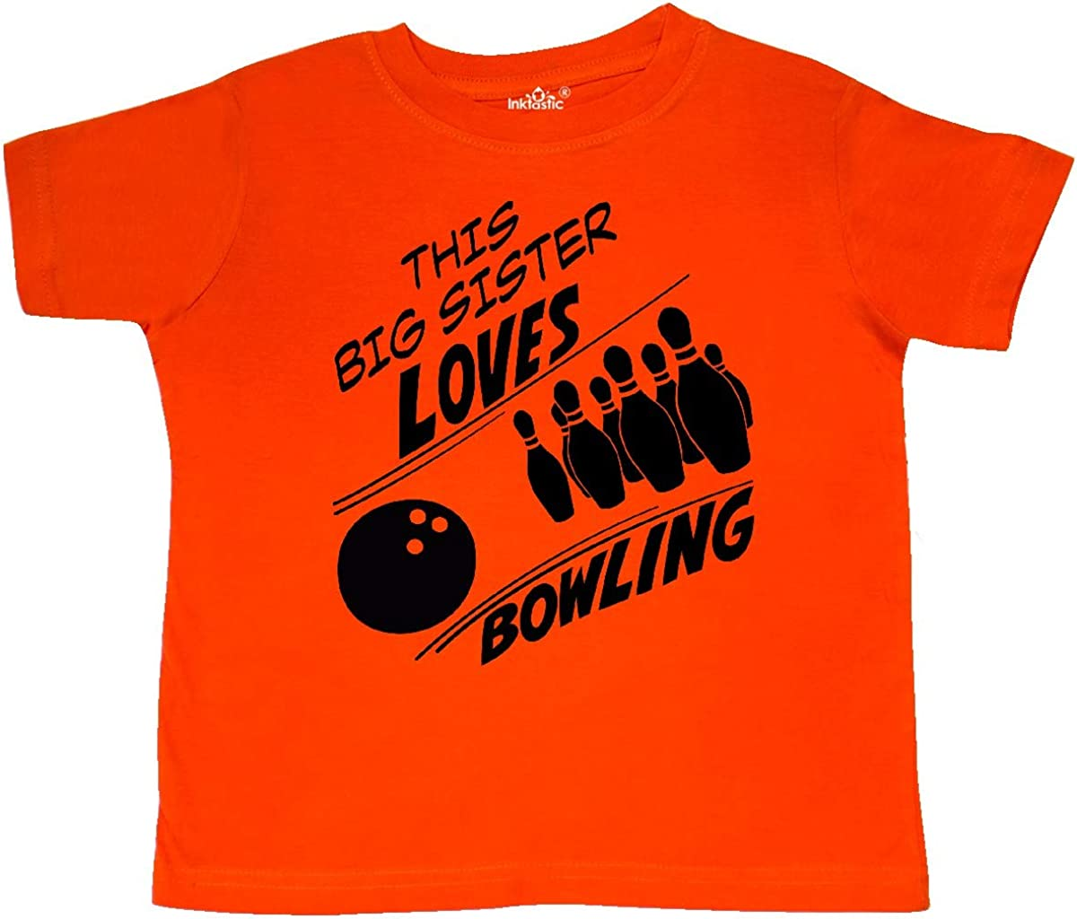 inktastic This Big Sister Loves Bowling Toddler T-Shirt