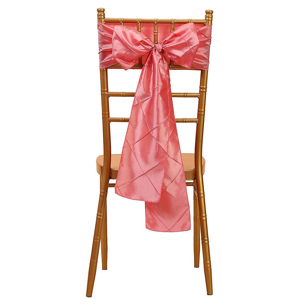TOOGOO(R) 1pcs 6x108 inch trellis Chair Sashes Ribbon Bows streamer for Wedding Party Decoration Coral color