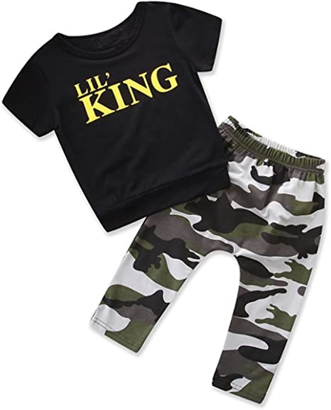 puseky Toddler Kid Baby Boys Letters T-Shirt /& Camo Pants Tracksuit Outfits Set