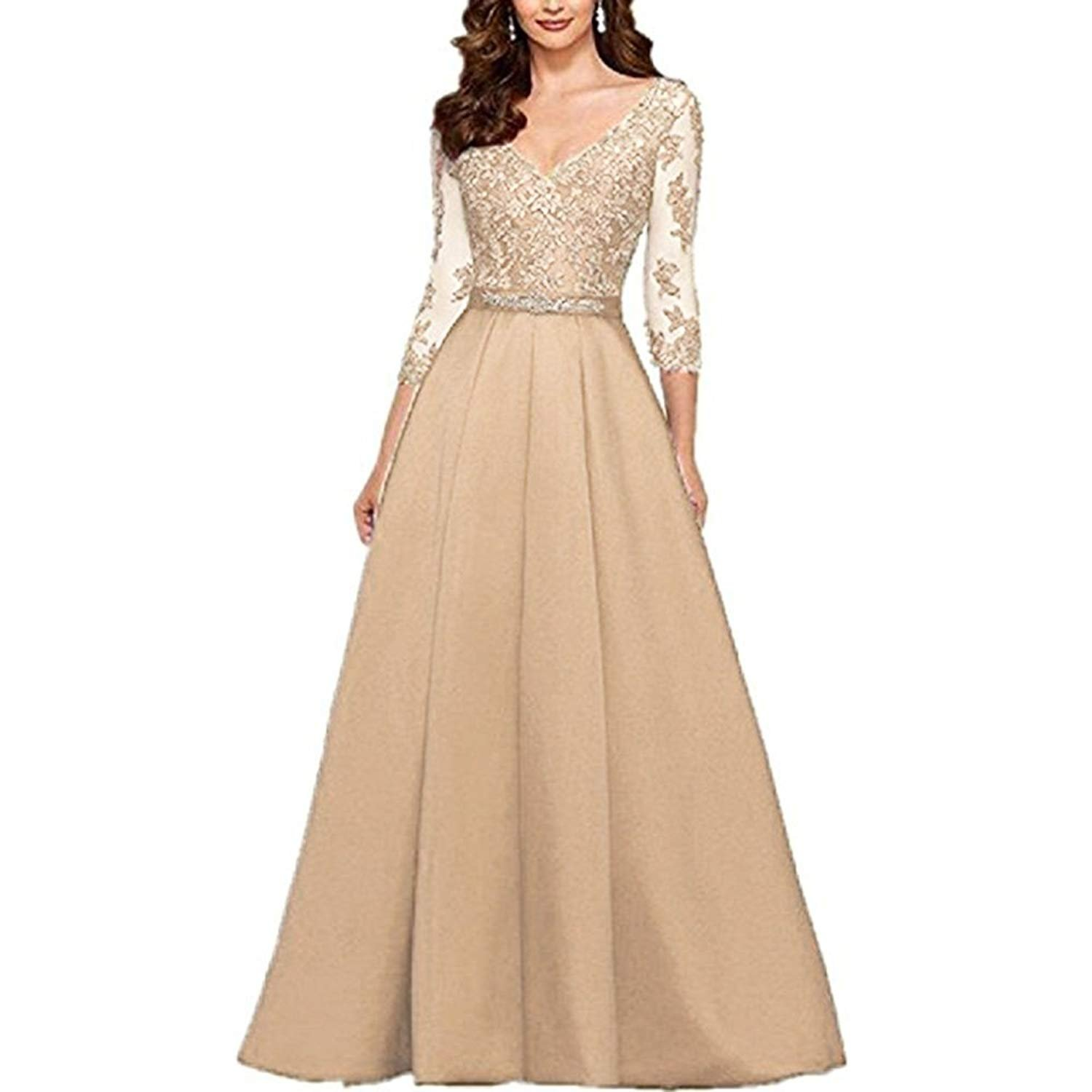 Champagne ynqnfs Women's VNeck 3 4 Sleeves Prom Dress Lace Long Mother of The Bride Dresses