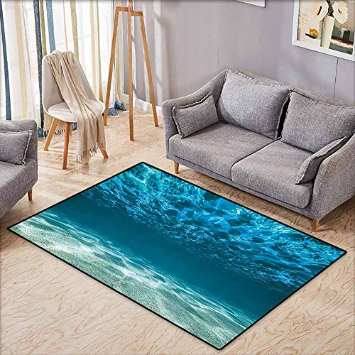 Kids Rug,Ocean Decor Collection,Bright Gravelly Bottom and Wavy Surface Tropical Seascape Abyss Underwater Picture,Anti-Static, Water-Repellent Rugs,4'7