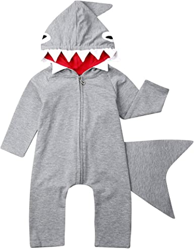 Baby Boy Shark Jumpsuit Hoodie Long Sleeve Cute Romper Fashion Newborn Infant Outfit