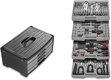 WOLFGANG Caja de 105 Herramientas Completa con 4 Cajones y Asa, Cajones con juego de destornilladores y puntas para taladro, Alicates, Pinzas, Destornilladores, Niveles, Llaves, Cuchillos: Amazon.es: Bricolaje y herramientas