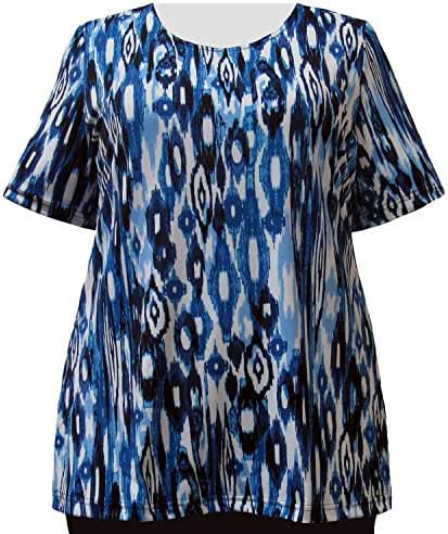 A Personal Touch Blue Ikat Women's Plus Size Top