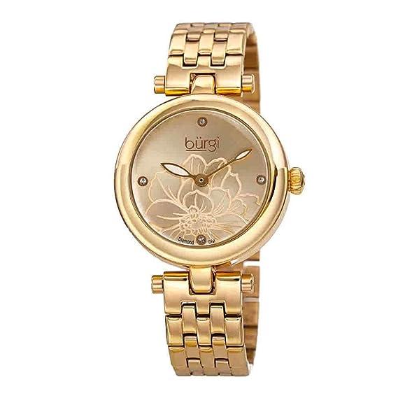 15e9285f8 Burgi® BUR223 - Reloj de Acero Inoxidable para Mujer, 4 marcadores de  Diamante en Relieve, Esfera de Rayos de Sol, Bisel Pulido, Elegante Pulsera  de ...