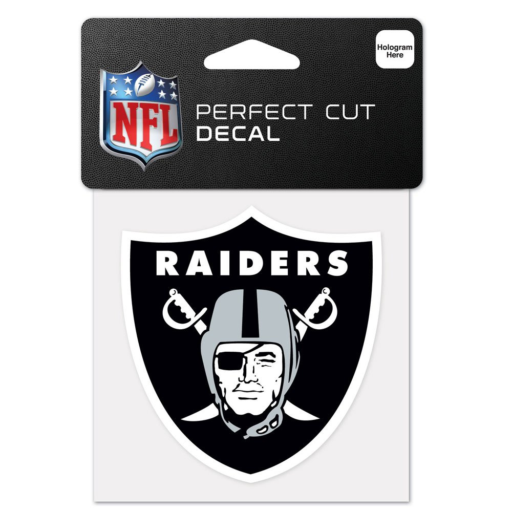 NFL Oakland Raiders 63061011 Perfect Cut Color Decal, 4'' x 4'', Black