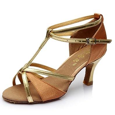 WYMNAME Womens Latin Tanzschuhe,Pailletten [Leise Unten] Moderner Tanzschuhe Gesellschaftstanz Soziale Tanzschuhe-Golden Fußlänge=23.8CM(9.4Inch)