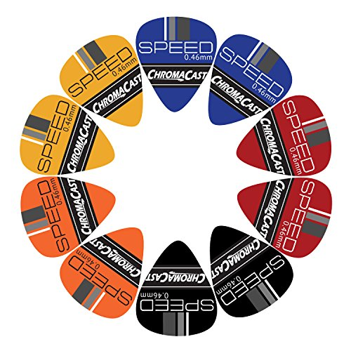 - ChromaCast Speed Series Celluloid Guitar Picks, Light Gauge (.46mm), Assorted Colors, 10 Pack (CC-CP-SPEED-L-10A)